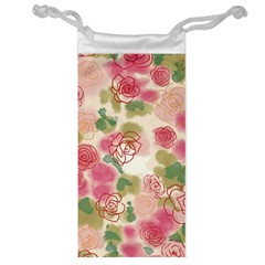 Aquarelle Pink Flower  Jewelry Bag by Brittlevirginclothing