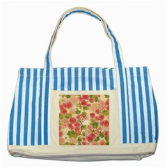Aquarelle Pink Flower  Striped Blue Tote Bag by Brittlevirginclothing