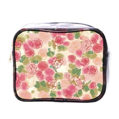 Aquarelle Pink Flower  Mini Toiletries Bags by Brittlevirginclothing