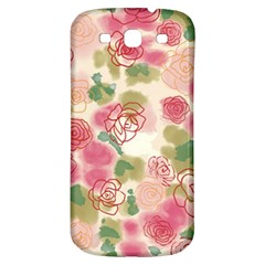 Aquarelle  Pink Flower  Samsung Galaxy S3 S Iii Classic Hardshell Back Case by Brittlevirginclothing