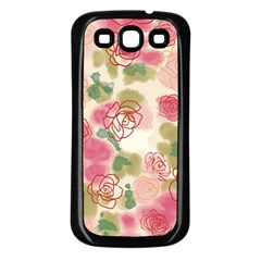 Aquarelle  Pink Flower  Samsung Galaxy S3 Back Case (black) by Brittlevirginclothing