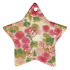Aquarelle Pink Flower  Ornament (star)  by Brittlevirginclothing