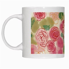 Aquarelle Pink Flower  White Mugs by Brittlevirginclothing