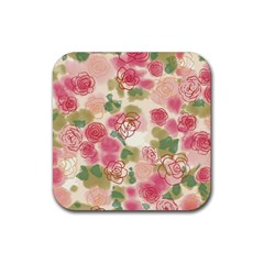 Aquarelle Pink Flower  Rubber Square Coaster (4 Pack)  by Brittlevirginclothing