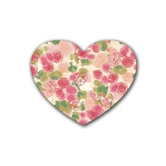 Aquarelle Pink Flower  Rubber Coaster (heart)  by Brittlevirginclothing