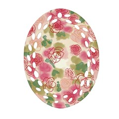 Aquarelle Pink Flower  Oval Filigree Ornament (2 Side)  by Brittlevirginclothing