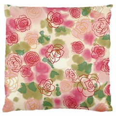 Aquarelle Pink Flower  Large Cushion Case (two Sides) by Brittlevirginclothing