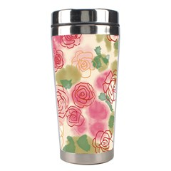 Aquarelle Pink Flower  Stainless Steel Travel Tumblers by Brittlevirginclothing