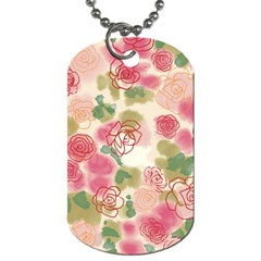 Aquarelle Pink Flower  Dog Tag (one Side) by Brittlevirginclothing
