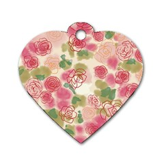 Aquarelle Pink Flower  Dog Tag Heart (one Side) by Brittlevirginclothing