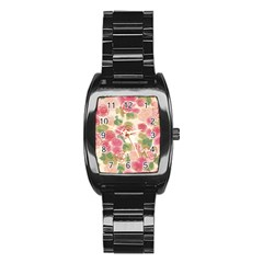 Aquarelle Pink Flower  Stainless Steel Barrel Watch by Brittlevirginclothing