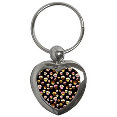 Jammy Cupcakes Pattern Key Chains (heart)  by Valentinaart