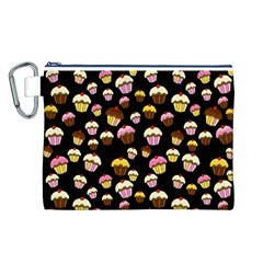 Jammy Cupcakes Pattern Canvas Cosmetic Bag (l) by Valentinaart