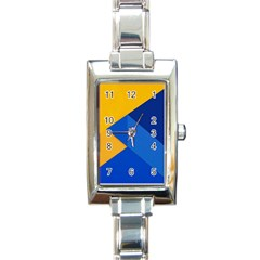 Box Yellow Blue Red Rectangle Italian Charm Watch by Jojostore