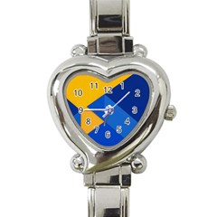 Box Yellow Blue Red Heart Italian Charm Watch by Jojostore