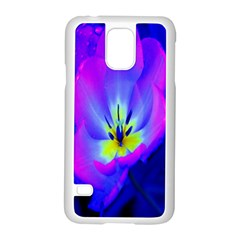 Blue And Purple Flowers Samsung Galaxy S5 Case (white) by Jojostore
