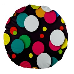 Color Balls Large 18  Premium Flano Round Cushions by Jojostore