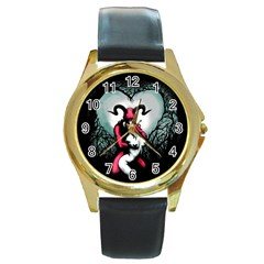 Happily Ever After Round Gold Metal Watch by lvbart
