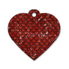 Scales2 Black Marble & Red Marble (r) Dog Tag Heart (two Sides) by trendistuff