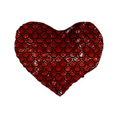 Scales2 Black Marble & Red Marble (r) Standard 16  Premium Heart Shape Cushion  by trendistuff