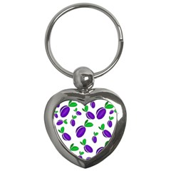 Decorative Plums Pattern Key Chains (heart)  by Valentinaart