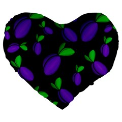 Plums Pattern Large 19  Premium Heart Shape Cushions by Valentinaart