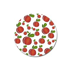 Peaches Pattern Magnet 3  (round) by Valentinaart