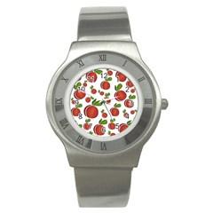 Peaches Pattern Stainless Steel Watch by Valentinaart