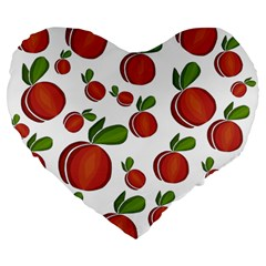 Peaches Pattern Large 19  Premium Flano Heart Shape Cushions by Valentinaart