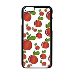 Peaches Pattern Apple Iphone 6/6s Black Enamel Case by Valentinaart