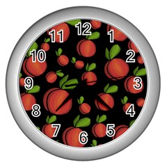 Peaches Wall Clocks (silver)  by Valentinaart