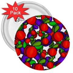 Peaches And Plums 3  Buttons (10 Pack)  by Valentinaart
