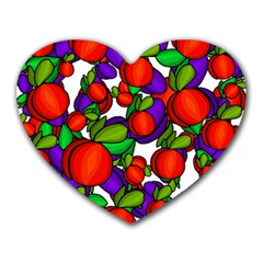 Peaches And Plums Heart Mousepads by Valentinaart