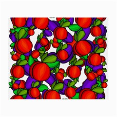 Peaches And Plums Small Glasses Cloth (2 Side) by Valentinaart