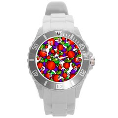 Peaches And Plums Round Plastic Sport Watch (l) by Valentinaart