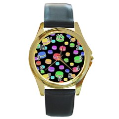 Colorful Macaroons Round Gold Metal Watch by Valentinaart