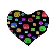 Colorful Macaroons Standard 16  Premium Flano Heart Shape Cushions by Valentinaart
