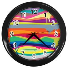 Colorfull Rainbow Wall Clocks (black) by Jojostore