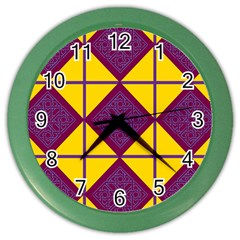 Complexion Purple Yellow Color Wall Clocks by Jojostore