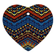 Cute Hand Drawn Ethnic Pattern Heart Ornament (2 Sides) by Jojostore