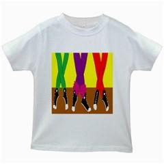 Foot Dance Kids White T Shirts by Jojostore