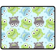 Frog Green Double Sided Fleece Blanket (medium)  by Jojostore
