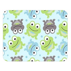 Frog Green Double Sided Flano Blanket (large)  by Jojostore