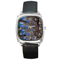 Feathers Peacock Light Square Metal Watch by Jojostore