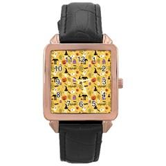 Halloween Pattern Rose Gold Leather Watch  by Jojostore