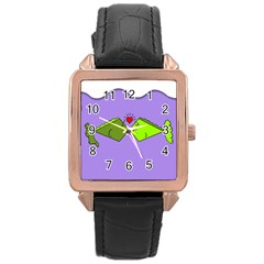 Kissing Fish Rose Gold Leather Watch  by Jojostore