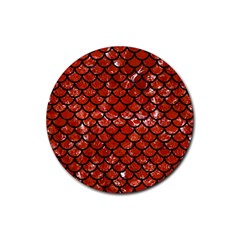 Scales1 Black Marble & Red Marble (r) Rubber Coaster (round) by trendistuff