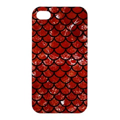 Scales1 Black Marble & Red Marble (r) Apple Iphone 4/4s Premium Hardshell Case by trendistuff