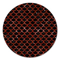 Scales1 Black Marble & Red Marble Magnet 5  (round) by trendistuff