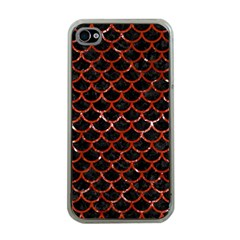 Scales1 Black Marble & Red Marble Apple Iphone 4 Case (clear) by trendistuff